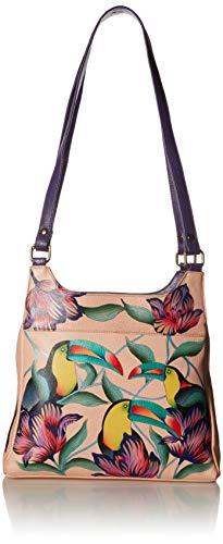 Anna by Anuschka Satchel Handbag   Genuine Leather   Tropical Toucan