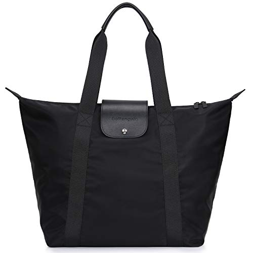 GoPenguin Tote Bag for Women, Travel Foldable Tote Shoulder Bag, Nylon Large Carryall Utility Tote Bag for Shopping with Zipper Black