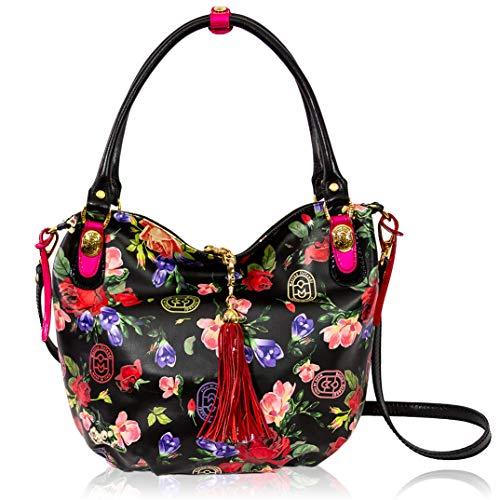 Marino Orlandi Italian Designer Roses Printed Floral Black Leather Large Purse Crossbody Bag