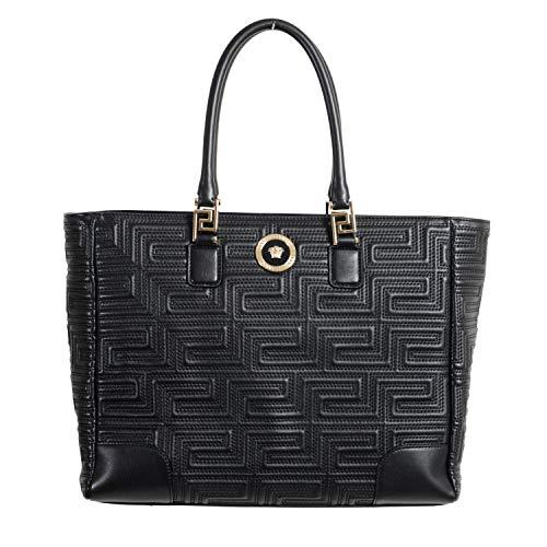 Versace Women's Quilted Black Leather Satchel Tote Shoulder Bag