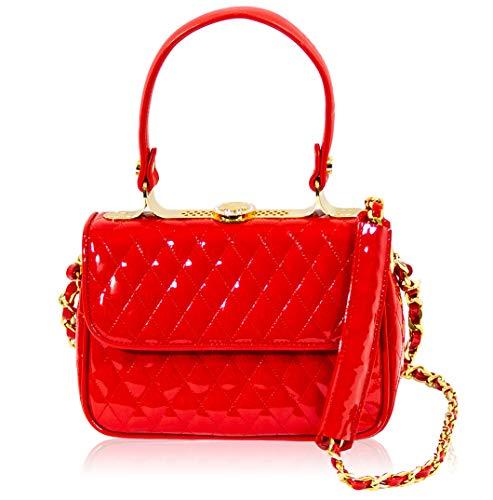 Valentino Orlandi Italian Designer Chanel Red Leather Mini Jeweled Top Handle Bag