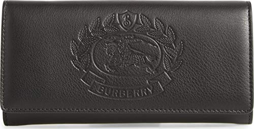 BURBERRY Black Wallet Leather Crest Embossed Leather Clutch Bag New