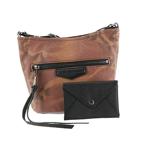 Aimee Kestenberg Leather Crossbody& RFID Pouch Brown Snake New A282320