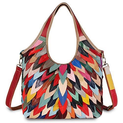 YALUXE Women's Crossbody Shoulder Bag Soft Leather Multicolor Purse colorful
