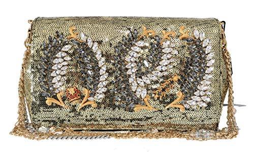 Dolce & Gabbana Gold ANNA Sequined Crystal Clutch Bag