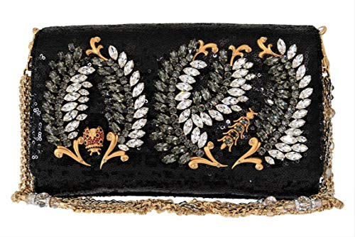 Dolce & Gabbana Black ANNA Sequined Crystal Clutch Bag