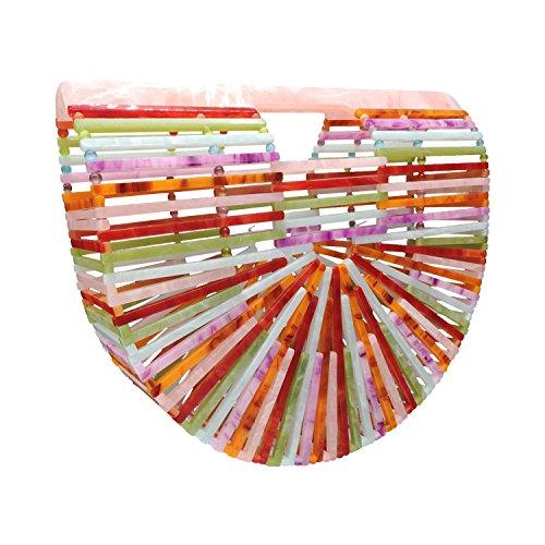Beauty YaYa Womens Ark Bamboo/Acrylic Clutch Handbag Large Tote Bag Beach Bag (Rainbow colored)