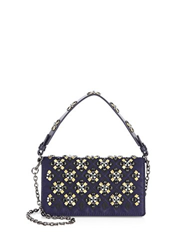 Tory Burch Tory Navy Blue Cleo Embellished Gold Metal Holiday Cleo Fold Over Clutch Bag New
