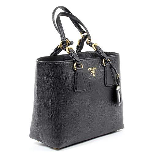 Prada Vitello Phenix Black Leather Shopping Tote Handbag 1BG043