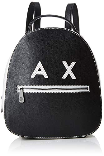 Women's schoolbag, Armani Exchange bag in white and black leather with AX logo and steel inserts. Adjustable shoulder straps.