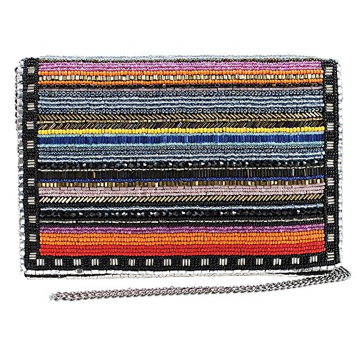 MARY FRANCES Technicolor Colorful Stripes Beaded Crossbody Clutch Handbag