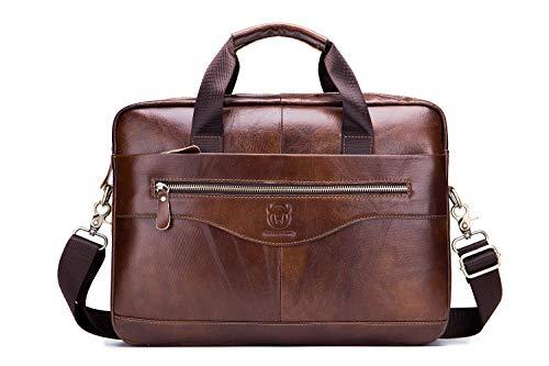 """Messenger Bag Briefcase EveryEzy Bullcaptain Genuine Leather 15.6"""" inch Laptop Shoulder Bag Business Briefcase Satchel (Brown)"""
