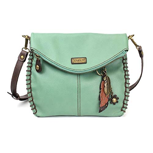 Chala Charming Crossbody Bag With Flap Top | Flap and Zipper Teal Cross-Body Purse or Shoulder Handbag with Metal Chain – Teal (Metal Feather),One Size