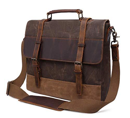15.6 inch Rugged Vintage Messenger Bag| Waterproof| Waxed Canvas Genuine Leather| Laptop Satchel Shoulder Bag| for Men & Women