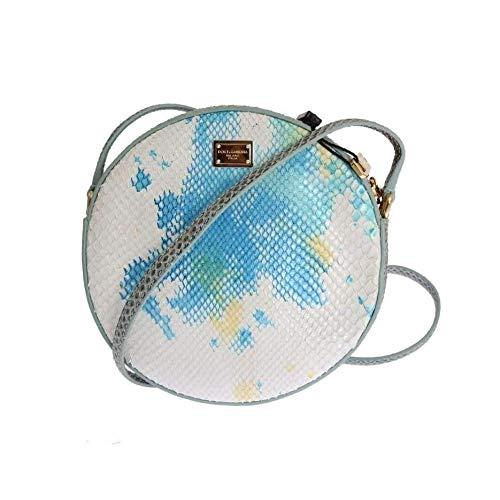 Dolce & Gabbana Blue White Glam Snakeskin Shoulder Clutch Bag
