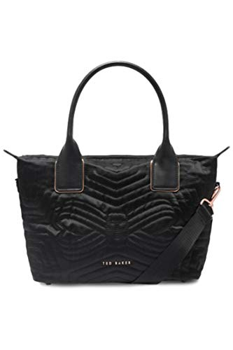 Ted Baker Akebia Quilted Bow Top Zip Small Nylon Black Crossbody Tote Bag