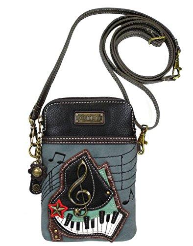 Chala Group Piano Cellphone Crossbody Handbag – Convertible Strap, Indigo, 5″ x 7.5″ x 1″