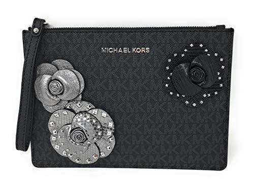 MICHAEL KORS JET SET SIGNATURE FLORAL APPLIQUE XL ZIP CLUTCH WRISTLET Black