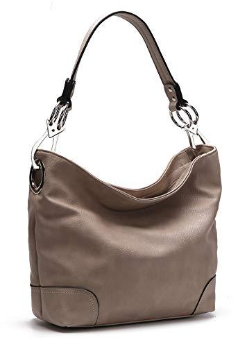 MKF Hobo bag for Women – Satchel-Tote shoulder Bag – Vegan Leather Womens Purse Top Handle Pocketbook Handbag Taupe