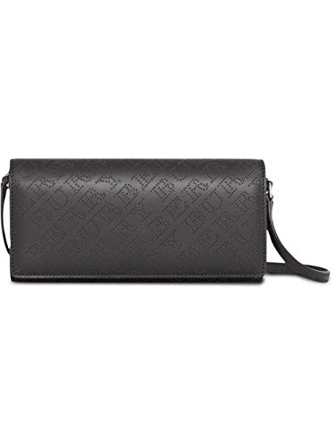 Burberry Women's Black Perforated Logo Leather Clutch Handbag