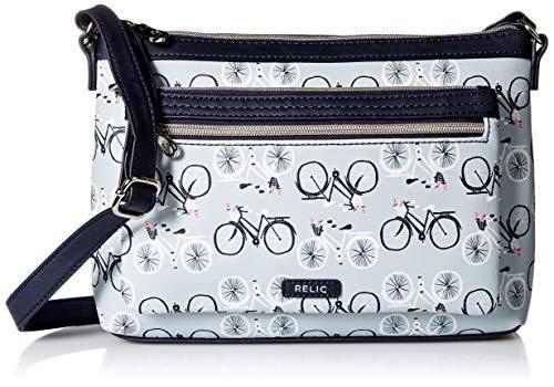 Relic by Fossil Women's Evie Crossbody Handbag Purse, Color: Light Blue Multi