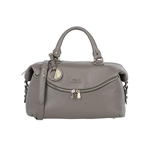 Versace Collection Women's Leather Satchel Handbag Taupe