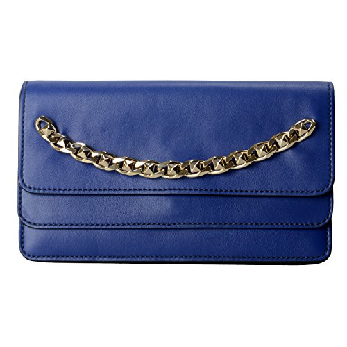 Valentino Garavani Women's Blue 100% Leather Rockstud Clutch Bag