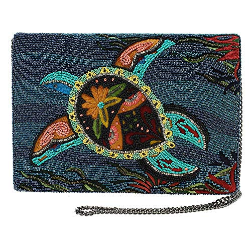 MARY FRANCES Go With The Flow Beaded & Embroidered Sea Turtle Crossbody Clutch Handbag