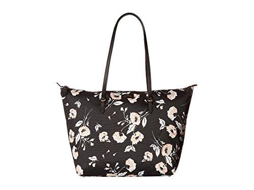 Ralph Lauren Chadwick Shopper Floral Pattern Medium Tote (Black)