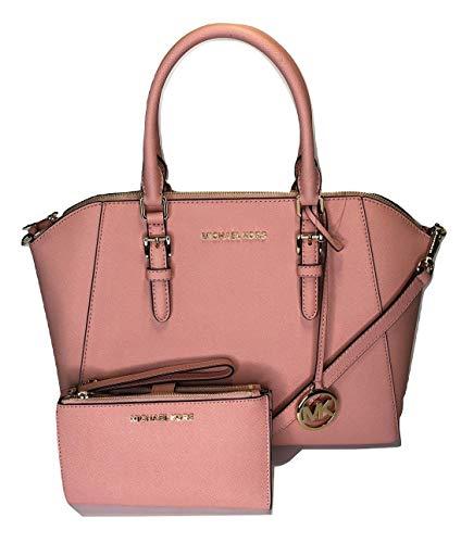 MICHAEL Michael Kors Ciara Large TZ Satchel bundled with Double Zip Wallet Wristlet (Pale Pink)