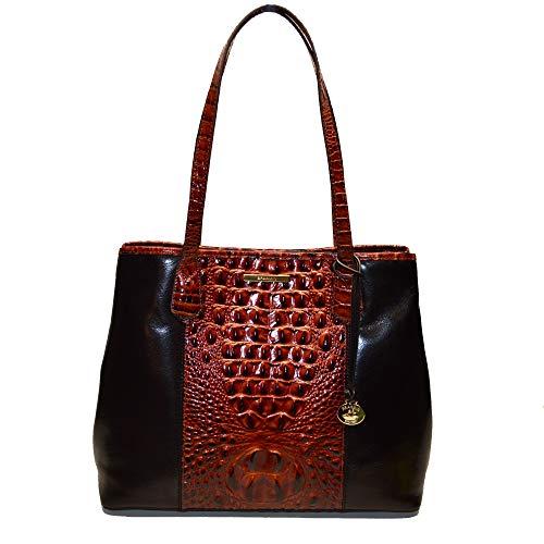 Brahmin Medium Julian Croco leather Shoulder Bag Pecan Fitzgerald