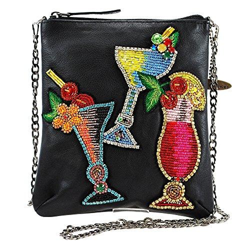 MARY FRANCES Drinks on Me Embellished Leather Cocktails Crossbody Zip Top Mini Handbag
