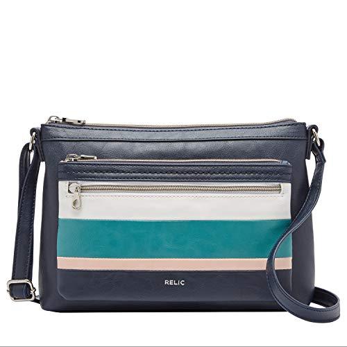 Relic by Fossil Women's Evie Crossbody Handbag Purse, Color: Navy Stripe