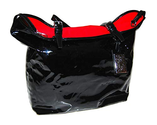 Ralph Lauren Purple Label Women Black Patent Leather Tote Bag Handbag Italy Red