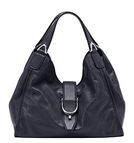 Gucci Stirrup Black Washed Soft Calf Leather Medium Hobo Bag 296856 1000