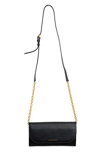 Burberry 100% Leather Black Chain Strap Women's Shoulder Bag