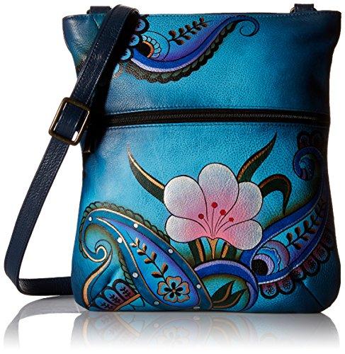 Anna Anuschka Slim Crossbody Bag   Genuine Leather   Denim Paisley Floral