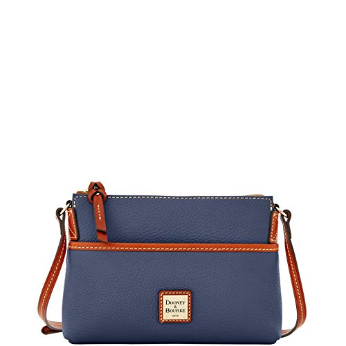 Dooney & Bourke Ginger Pouchette Leather Crossbody Bag Purse Handbag, Steel Blue