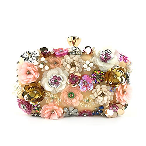 Marswoodsen Women Clutch Purse Colorful Flower Evening Bag Sequins Crystal Satin Handbag for Wedding Bag