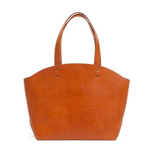 Moore and Giles Weldon Leather Tote, Virginia Natural Brown with Purple Interior Pocket