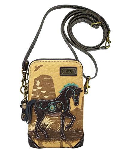 Chala Handbags Safari Horse Cellphone Crossbody Handbag – Convertible Strap Horse Lover