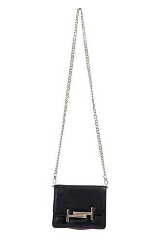 TOD'S 100% Leather Black Women's Crossbody Shoulder Bag Clutch