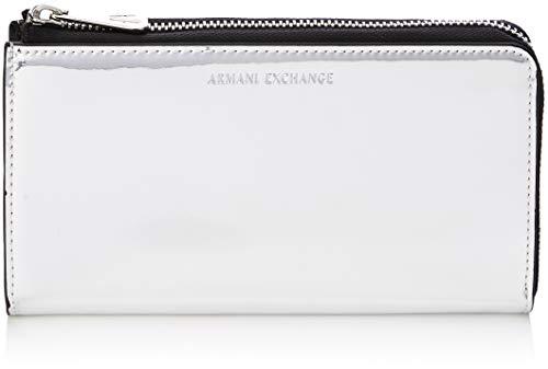 Armani Exchange Round-zip Wallet, Women's Silver (Argento), 10.1×2.5×19.0 cm (B x H T)