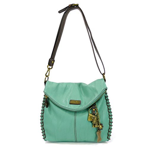 Chala Charming Crossbody Bag With Flap Top | Flap and Zipper Cross-Body Purse or Shoulder Handbag with Metal Chain – Teal – Dog