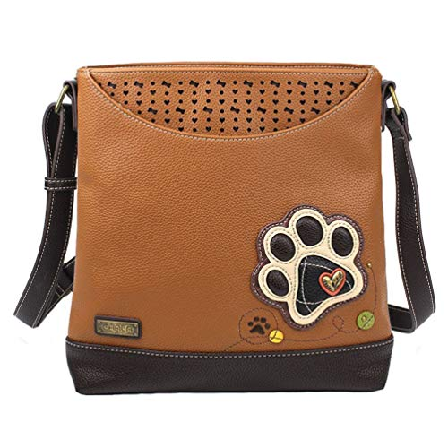 Chala Handbags Paw Print Sweet Messenger Bag Purse, Dog Mom Dog Lover