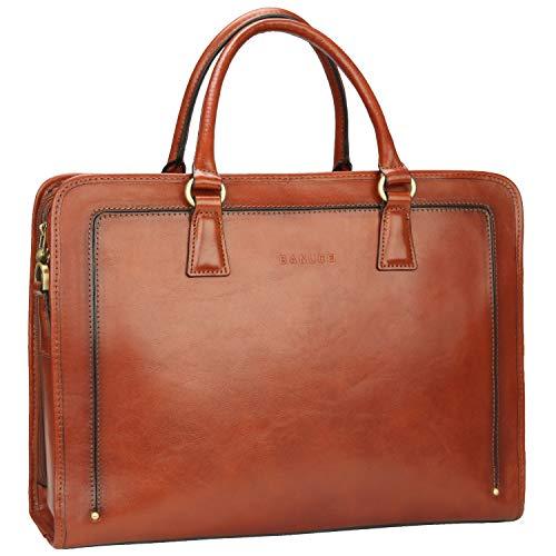 Banuce Full Grains Italian Leather Women's Briefcase 14 Laptop Bag Attache Case Tote Handbag Satchel Purse Brown