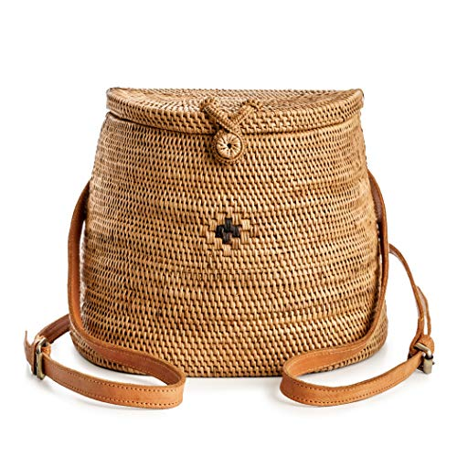 Rattan Backpack for Women – Handmade Wicker Woven Purse Handbag Circle Boho Bag Bali