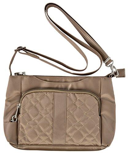 Travelon Anti-Theft Signature E/W Slim Shoulder Bag (Khaki)