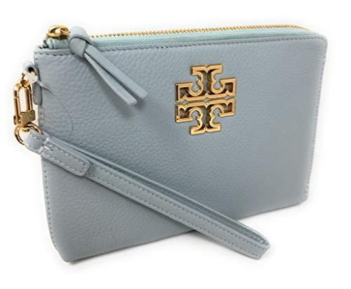 Tory Burch Britten Large Zip Pouch Wristlet Bag Blue Leather