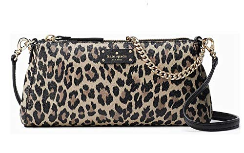 Kate Spade Grove Street Leopard Jane Women's Leather Clutch Shoulder bag